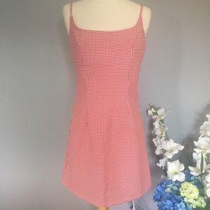AQUA BLUE vintage-looking red gingham dress